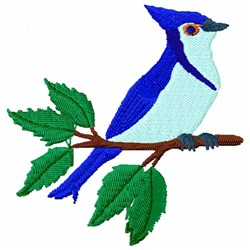 Bluejay on Branch embroidery design