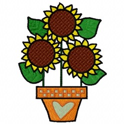Three Sunflowers embroidery design