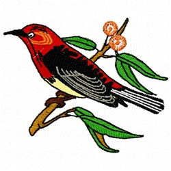 Bird on Branch embroidery design