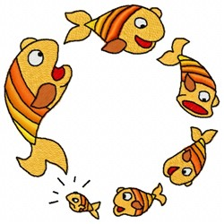 Fish Food Chain embroidery design