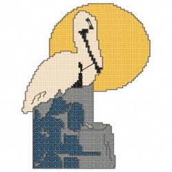Abstract Pelican embroidery design
