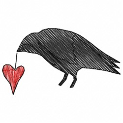 Crow Holding Heart embroidery design