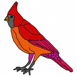 Standing Cardinal embroidery design