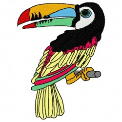Perched Toucan embroidery design
