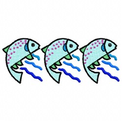 Three Fish embroidery design