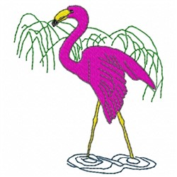 Flamingo in Water embroidery design