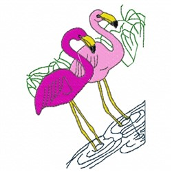 Wading Flamingo embroidery design