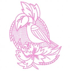 Bird and Flower Redwork embroidery design