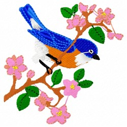 Bluebird & Blossom embroidery design