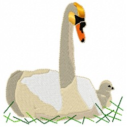 Swan and Chick embroidery design