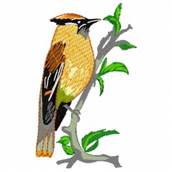Cedar Waxwing embroidery design