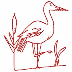 Stork Redwork embroidery design