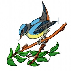 Blue Bird on Branch embroidery design