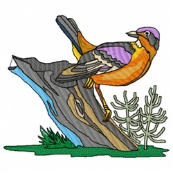 Bird on Tree Stump embroidery design