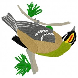 Firecrest Bird on Branch embroidery design