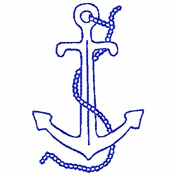 Anchor and Rope Bluework embroidery design