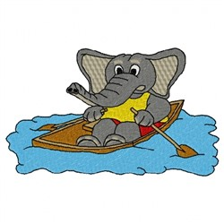 Elephant in Rowboat embroidery design