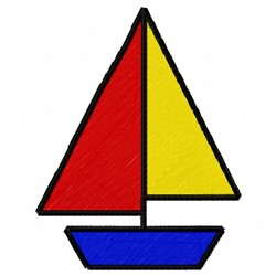 Basic Sailboat embroidery design
