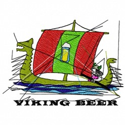 Viking Beer Boat embroidery design