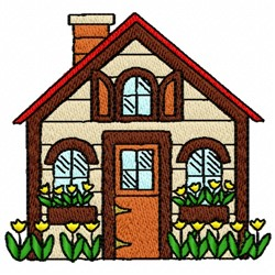 Floral House embroidery design