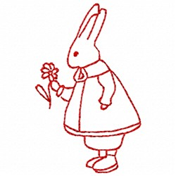 Redwork Rabbit Girl embroidery design