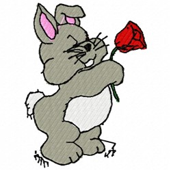 Bunny With Rose embroidery design