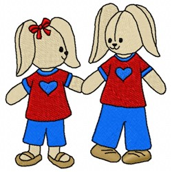 Loving Bunnies embroidery design