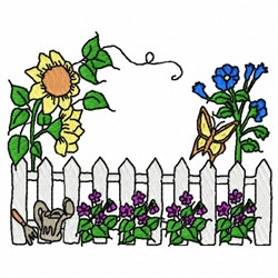 Sunflower Fence embroidery design