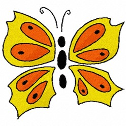 Red & Yellow Butterfly embroidery design