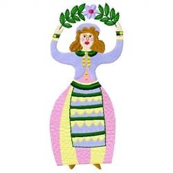 Folk Art Lady embroidery design