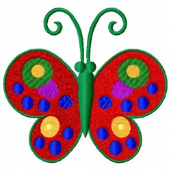 Red Decorated Butterfly embroidery design