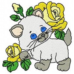 Flowery Cat embroidery design