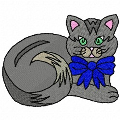 Kitty With Bow embroidery design