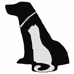 Dog & Cat Silhouette embroidery design