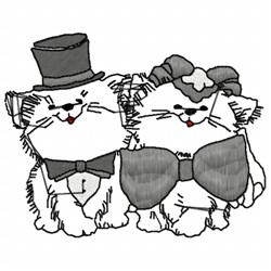 Cat Bride & Groom embroidery design