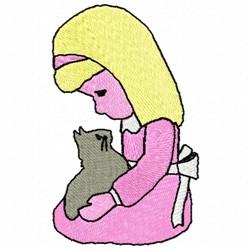 Girl & Kitten embroidery design