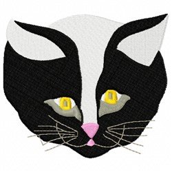 Black & White Cat Head embroidery design