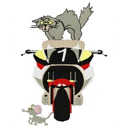 Cat Mouse Motorcycle embroidery design