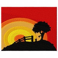 Hill Sunrise embroidery design