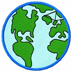 World Globe embroidery design