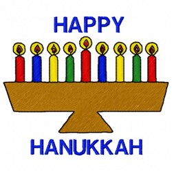 Happy Menorah embroidery design