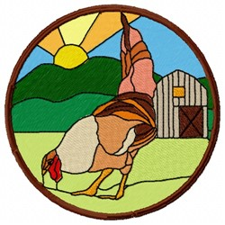 Stained Glass Rooster embroidery design