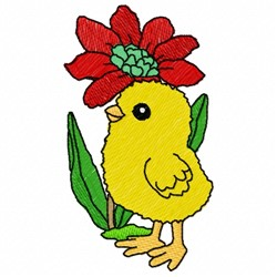 Floral Chick embroidery design