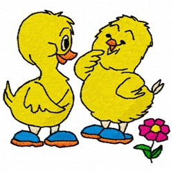 Chick Friends embroidery design