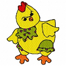 Yellow Chicken embroidery design
