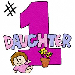 Number 1 Daughter embroidery design