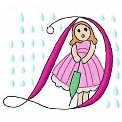 Raining D embroidery design