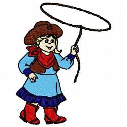 Cowgirl & Lasso embroidery design