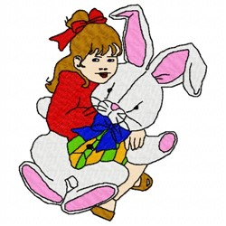 Girl and Bunny embroidery design