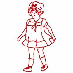 Girl Redwork embroidery design